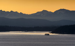 Sunset over the Olympic Mountains Royalty Free Stock Images