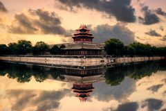 Forbidden City Turret Sunset royalty free stock photography
