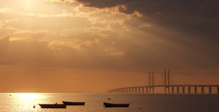Sunset over Oresund. In southern Sweden Stock Image