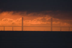 Sunset over the Oresund Bridge Stock Images