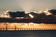 Sunset over the oresunds bridge Stock Image