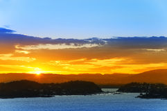 Sunset over the Oslo Fjord. Norway. Royalty Free Stock Image