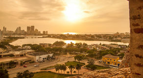 Sunset over over old town of Cartagena Royalty Free Stock Photos