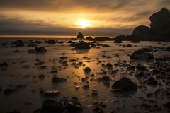 Pacific Ocean in California. Sunset over the Pacific Ocean, California stock photography