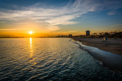 Sunset over the Pacific Ocean, in Long Beach  Stock Image