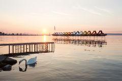 Sunset over paddle boats. In the lake Balaton, Hungary Royalty Free Stock Image