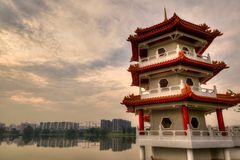 Sunset Over Pagoda at Chinese Gardens, Singapore Royalty Free Stock Images