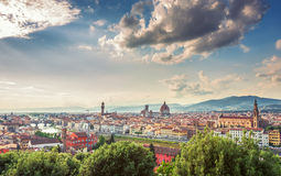 Sunset over Palazzo Vecchio, Cathedral of Santa Maria del Fiore Royalty Free Stock Images