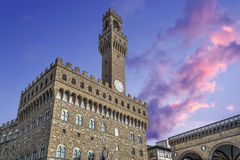 Sunset over Palazzo Vecchio Royalty Free Stock Photography