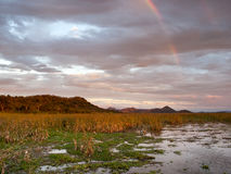 Sunset over Palo Verde National Park in Costa Rica. Sunset and rainbow over Palo Verde National Park in Guanacaste, Costa Rica Stock Photography