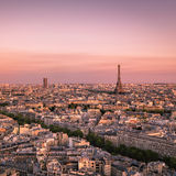 Sunset over Paris with Eiffel Tower, France Stock Images