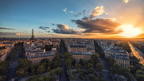 Sunset over Paris and the Eiffel tower. Paris viewed from the Arc de Triomphe Stock Photo
