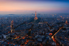 Sunset over Paris taken from the Tour Montparnasse Tower Royalty Free Stock Image