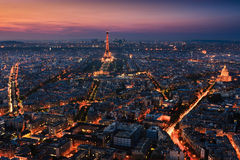 Sunset over Paris taken from the Tour Montparnasse Tower Royalty Free Stock Photography