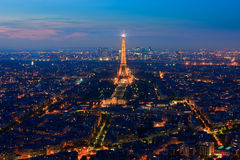Sunset over Paris taken from the Tour Montparnasse Tower Royalty Free Stock Images