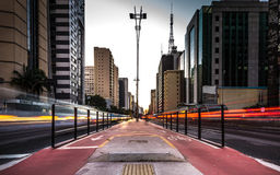 Sunset over Paulista Avenue in Sao Paulo, Brazil Stock Photography