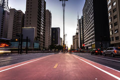 Sunset over Paulista Avenue in Sao Paulo, Brazil Royalty Free Stock Photography