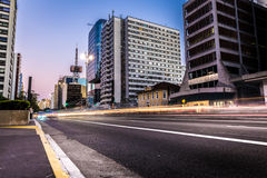 Sunset over Paulista Avenue in Sao Paulo, Brazil Stock Images