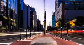 Sunset over Paulista Avenue in Sao Paulo, Brazil Stock Photos