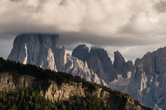 Sunset over peaks in Dolomites Royalty Free Stock Photo
