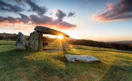 Sunset over Pentre Ifan royalty free stock image