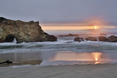 Sunset over Pescadero State Beach in San Mateo County, California Stock Image