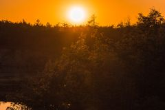 This is the sunset over the Peschanoe lake. stock photos