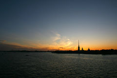 Sunset over the Peter and Paul Fortress Royalty Free Stock Image