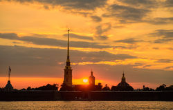 Sunset over the Peter and Paul fortress Stock Photo