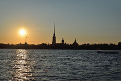 Sunset over Peter and Paul fortress on the Neva river Royalty Free Stock Images