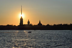 Sunset over Peter and Paul fortress on the Neva river Royalty Free Stock Photos