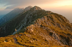 Sunset over Piatra Craiului mountains Stock Images