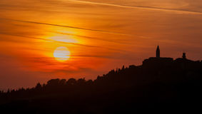 Sunset over Pienza town, Tuscany, Italy Stock Photos