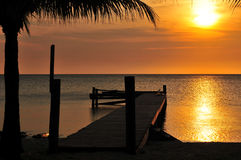 Sunset over the pier. Royalty Free Stock Photo