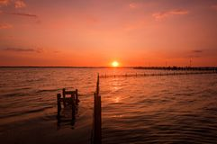 Sunset over pier Royalty Free Stock Photo