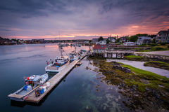 Sunset over piers in the Piscataqua River, in Portsmouth, New Ha Royalty Free Stock Photography