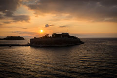 Sunset over Pigeon Island Royalty Free Stock Image