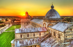 Sunset over the Pisa Cathedral Royalty Free Stock Image