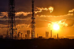 Sunset over the plant Royalty Free Stock Photography