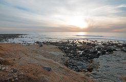 SUNSET OVER POINT LOMA TIDEPOOLS AT CABRILLO NATIONAL MONUMENT IN SAN DIEGO IN SOUTHERN CALIFORNIA USA Stock Photography