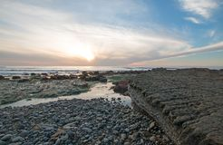 SUNSET OVER POINT LOMA TIDEPOOLS AT CABRILLO NATIONAL MONUMENT IN SAN DIEGO IN SOUTHERN CALIFORNIA USA Stock Image