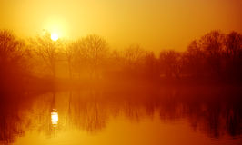 Sunset over pond Stock Image