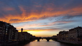 Sunset over Ponte Vecchio. Beautiful sunset in Florence, Italy Stock Photo