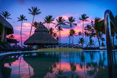 Sunset Over the Pool in a Caribbean Paradise Stock Photography