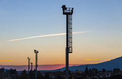 Sunset over Poprad railway station, Slovakia Stock Photography