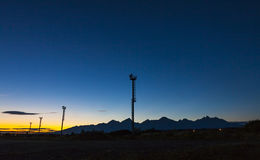 Sunset over Poprad railway station, Slovakia Stock Photos