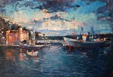 Sunset Over the Port on Black Sea. An oil painting on canvas of a colorful sunset over the port with ships entering and leaving the harbor Stock Image