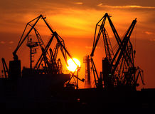 Sunset over port cranes Royalty Free Stock Images