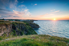 Sunset over Port Gaverne in Cornwall Stock Image
