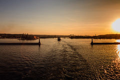 Sunset over the Port of Gdynia Stock Image